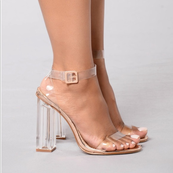 92f889861c5 Rose gold clear straps heels.